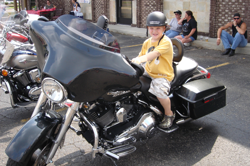 Photo of Tyler on a Street Glide.